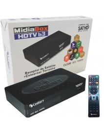 RECEPTOR  CENTURY SINAL B3 TV VIA SATELITE E CONVERSOR TERRESTRE DIGITAL HD