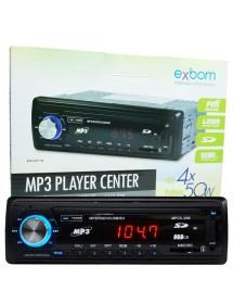 SOM AUTOMOTIVO EXBOM MPCC-20B COM RADIO FM ENTRADAS USB SD E AUXILIAR PLAYER CENTER